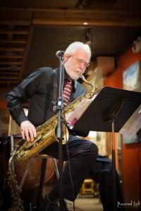 Don Wade & Yanti Rowland/Sax Among Friends Friday night jazz at Martin Street Art & Music Gallery in downtown Penticton, British Columbia.