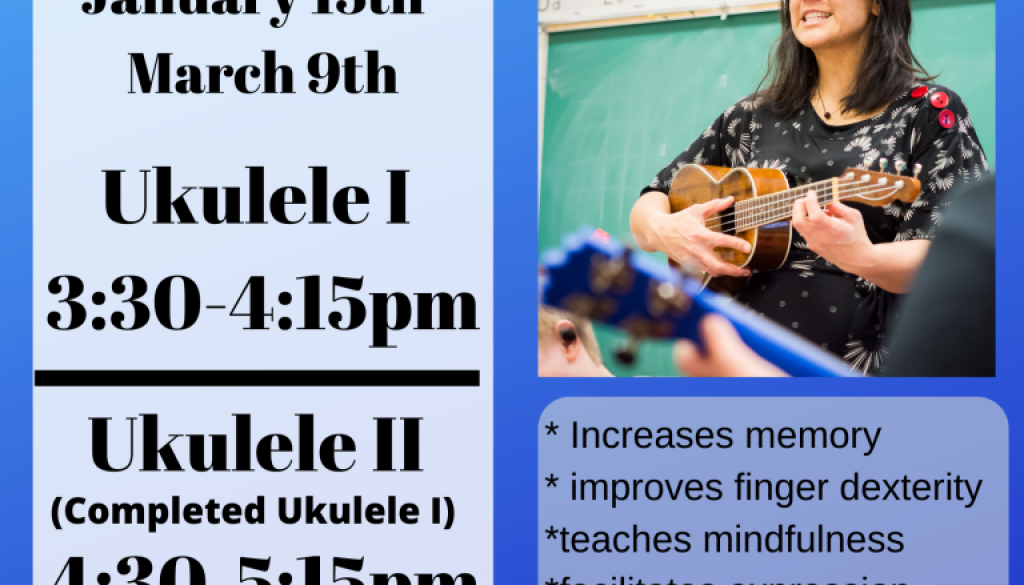 (No CLASSES FOR FAMILY DAY) 2020 Ukulele Classes @ Matheson & Grove Fine Arts Gallery